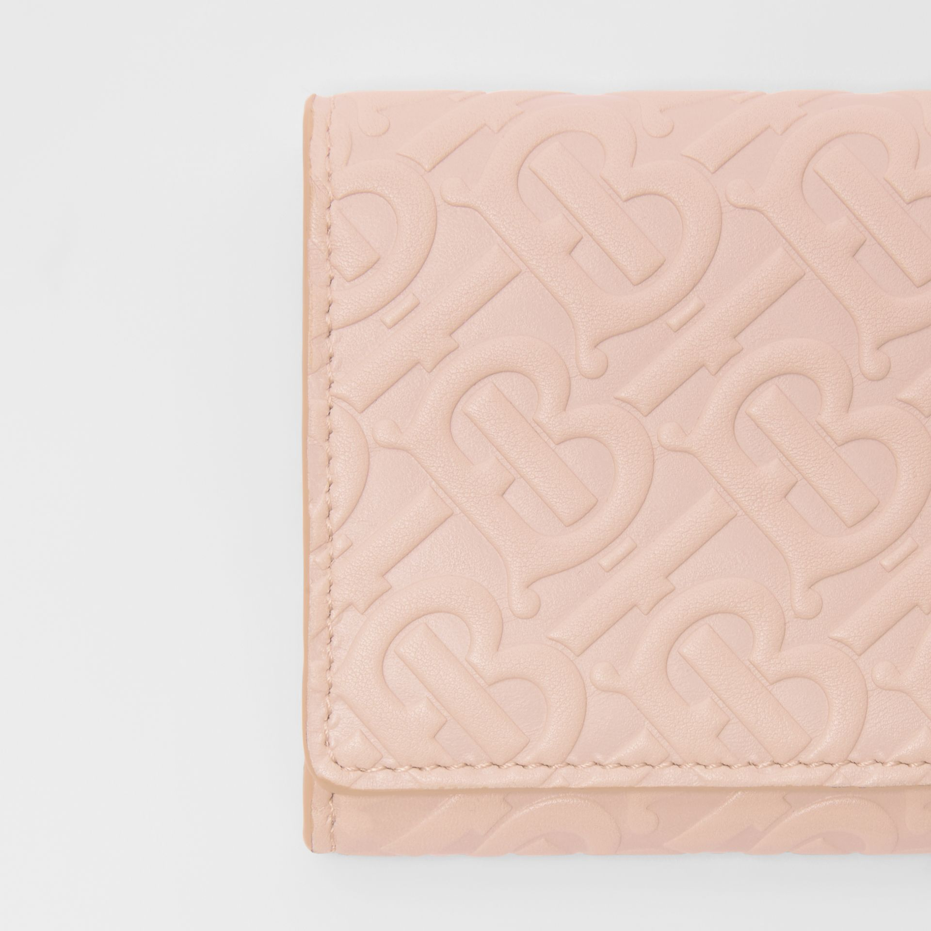 Monogram Leather Continental Wallet in Rose Beige - Women | Burberry Canada - gallery image 1