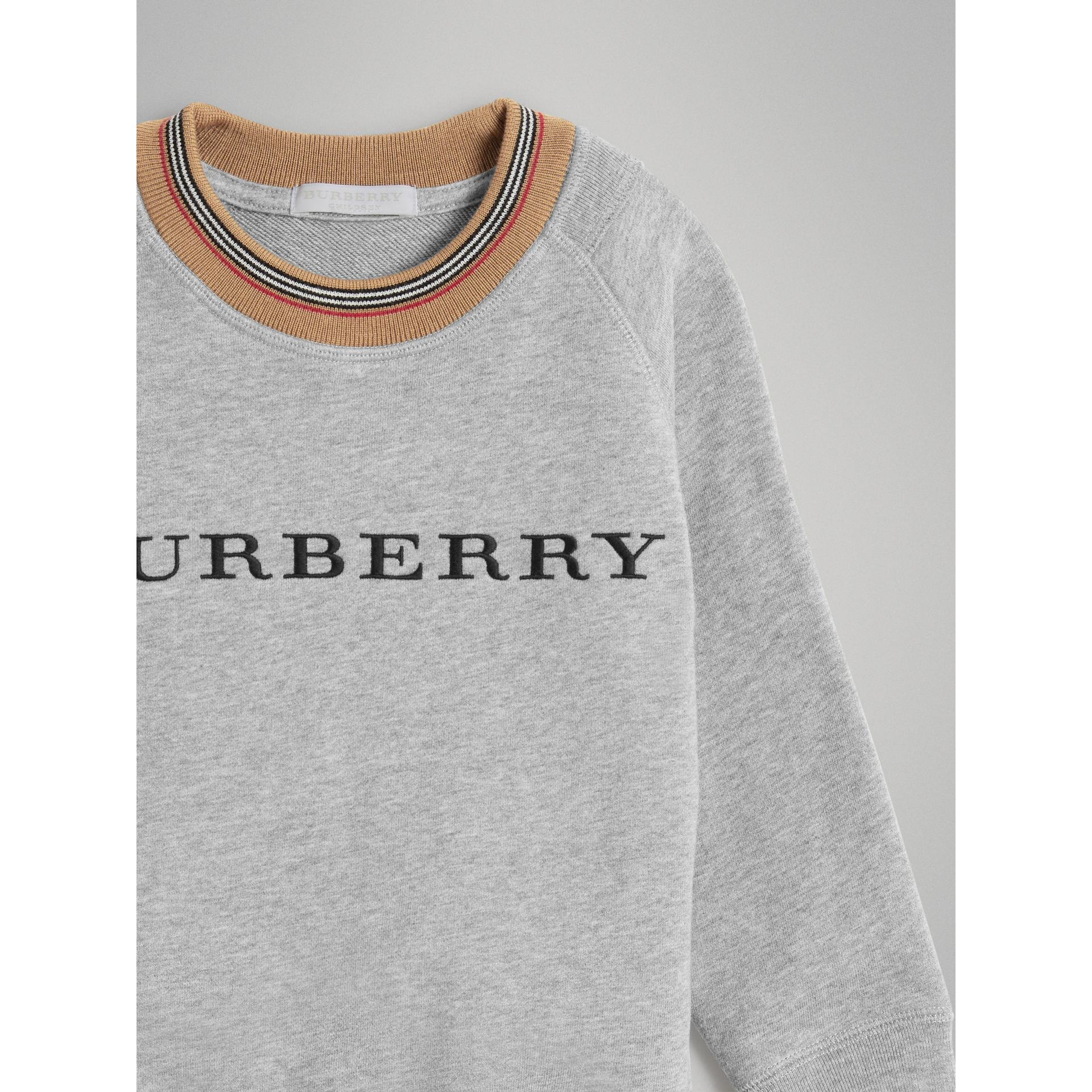 Heritage Stripe Detail Embroidered Cotton Sweatshirt in Grey Melange | Burberry United Kingdom - gallery image 4