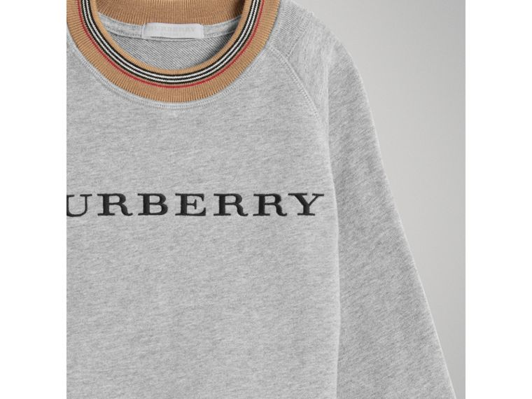 Heritage Stripe Detail Embroidered Cotton Sweatshirt in Grey Melange - Boy | Burberry - cell image 4