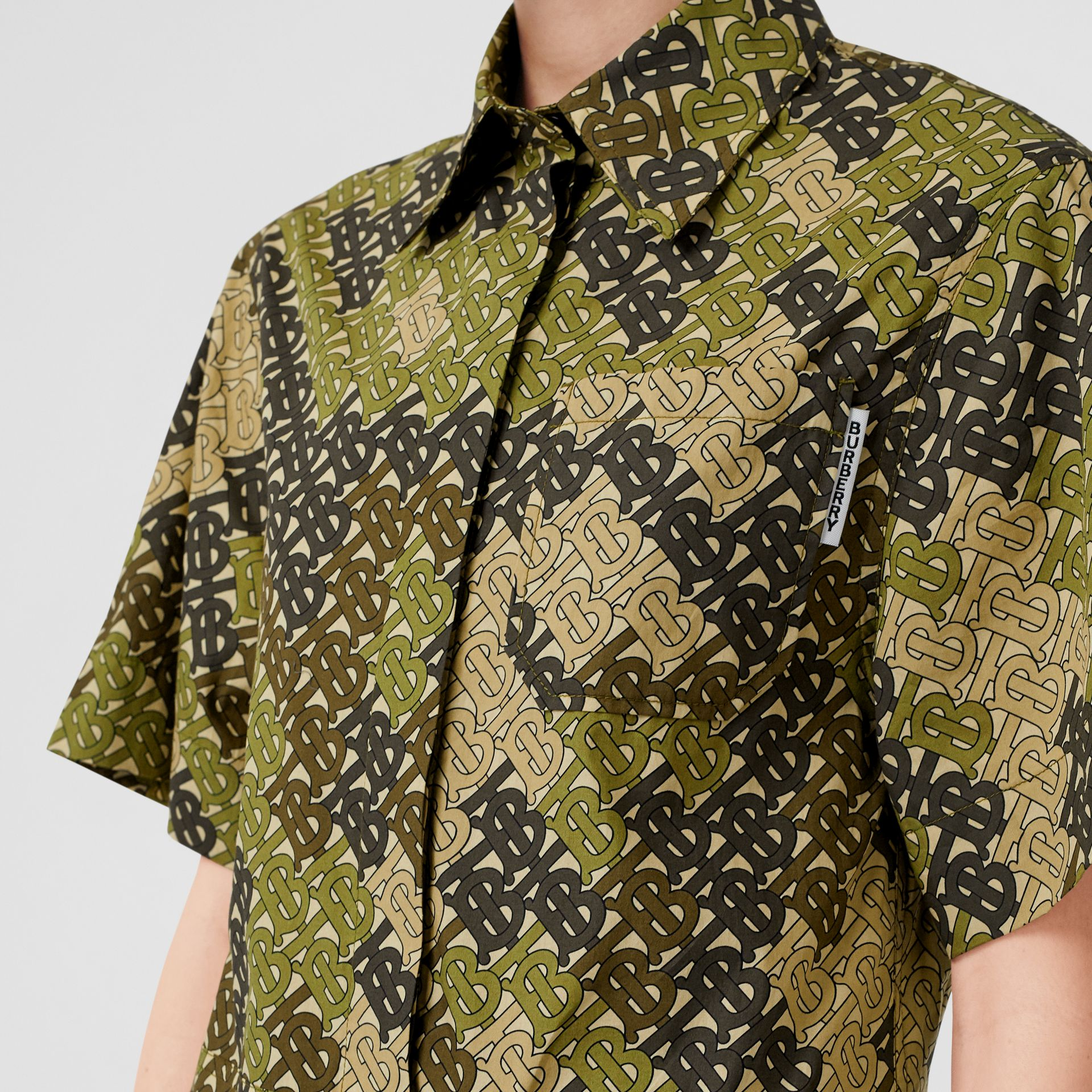 Short-sleeve Monogram Print Shirt Dress in Khaki Green - Women | Burberry Australia - gallery image 1