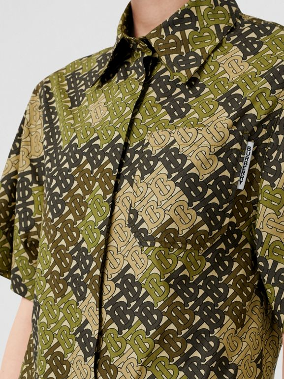 Short-sleeve Monogram Print Shirt Dress in Khaki Green - Women | Burberry - cell image 1