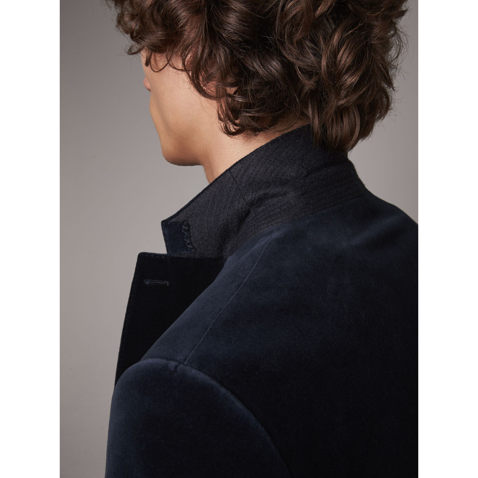 Soho Fit Velvet Tailored Jacket in Navy - Men | Burberry - gallery image 5