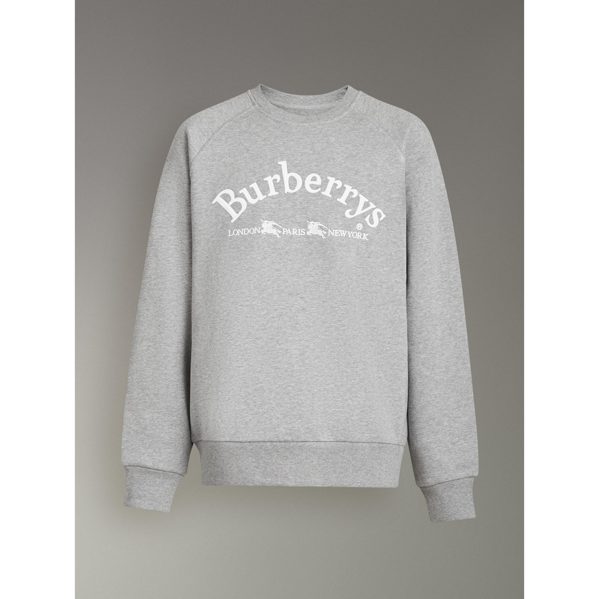 Suéter de malha com logo bordado (Cinza Claro Mesclado) - Homens | Burberry - galeria de imagens 3