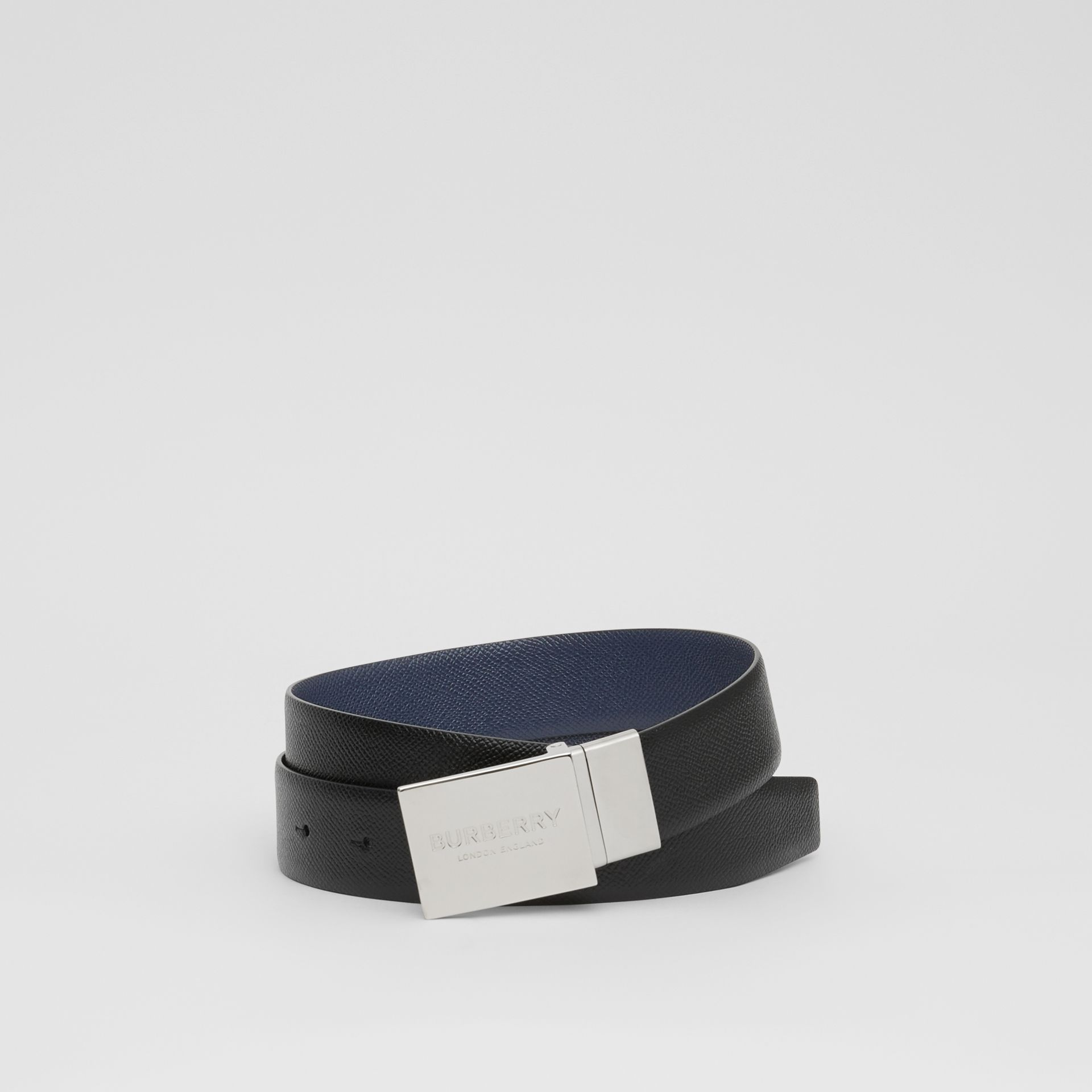 Reversible Plaque Buckle Grainy Leather Belt in Black/navy - Men | Burberry United Kingdom - gallery image 0