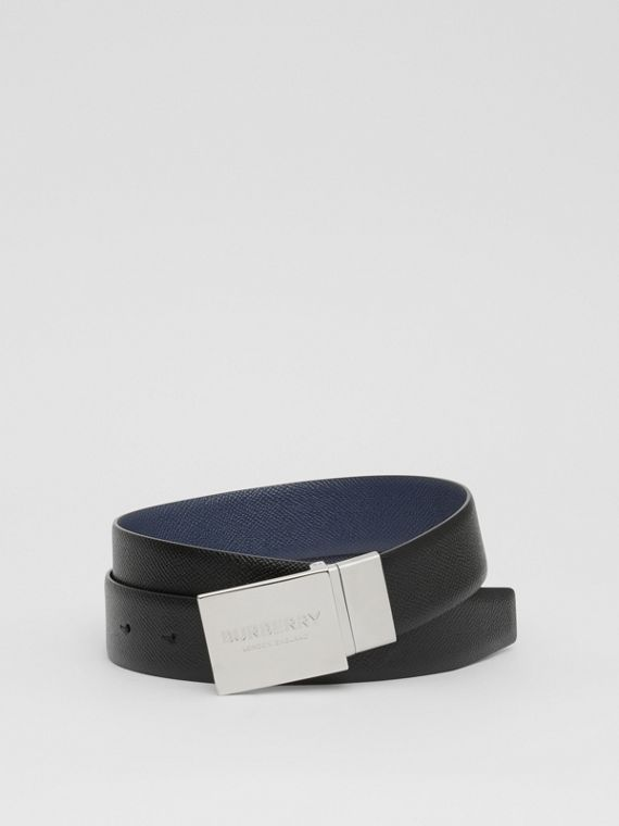 Reversible Plaque Buckle Grainy Leather Belt in Black/navy