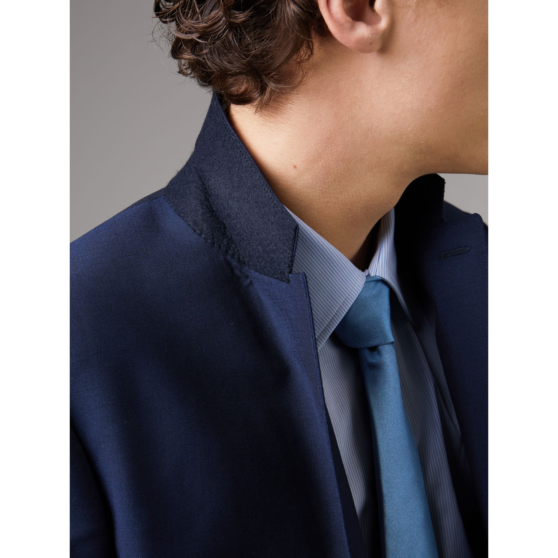 Slim Fit Wool Mohair Part-canvas Suit in Royal Navy - Men | Burberry - gallery image 5