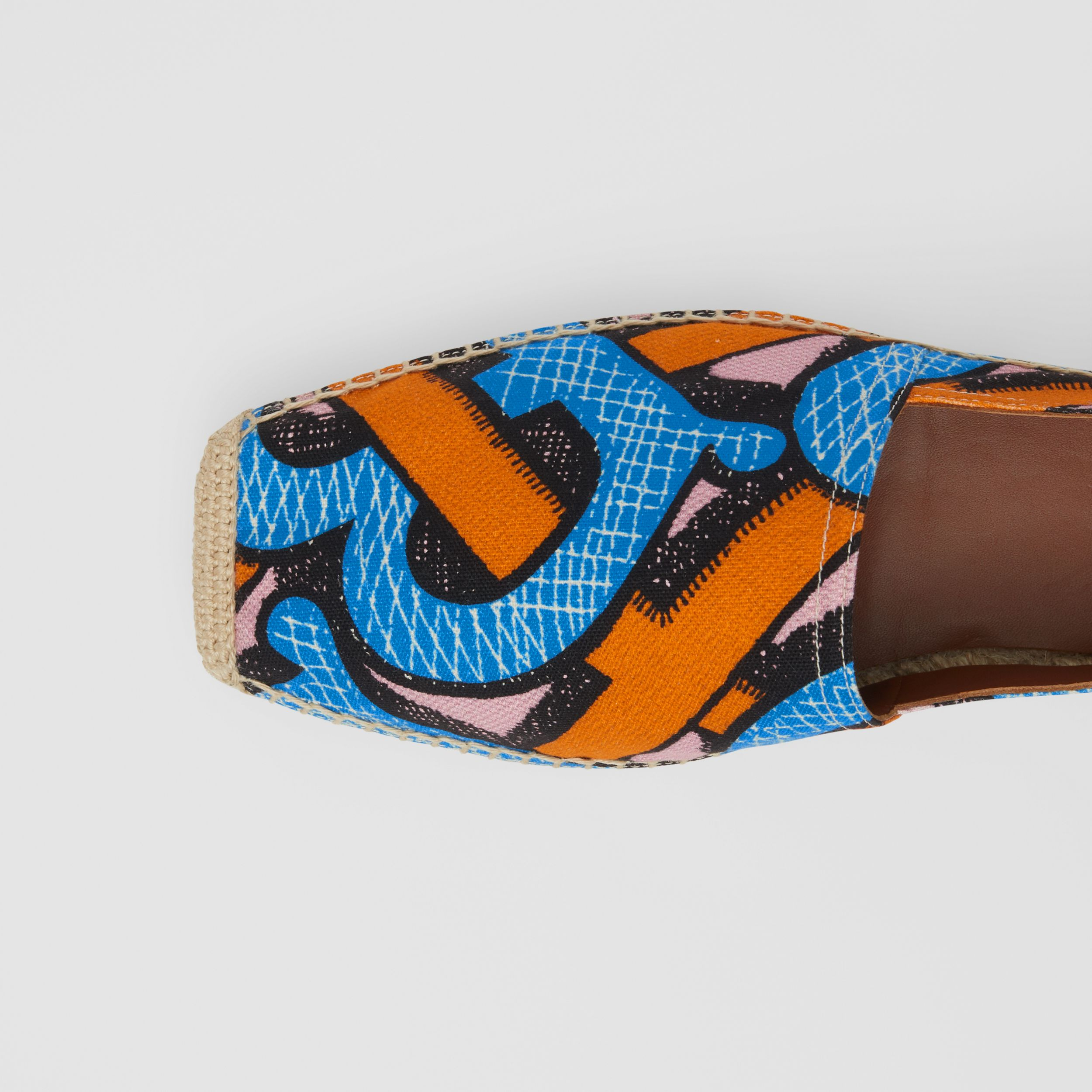 Monogram Print Cotton Canvas Espadrilles in Bright Cobalt - Women | Burberry - 2
