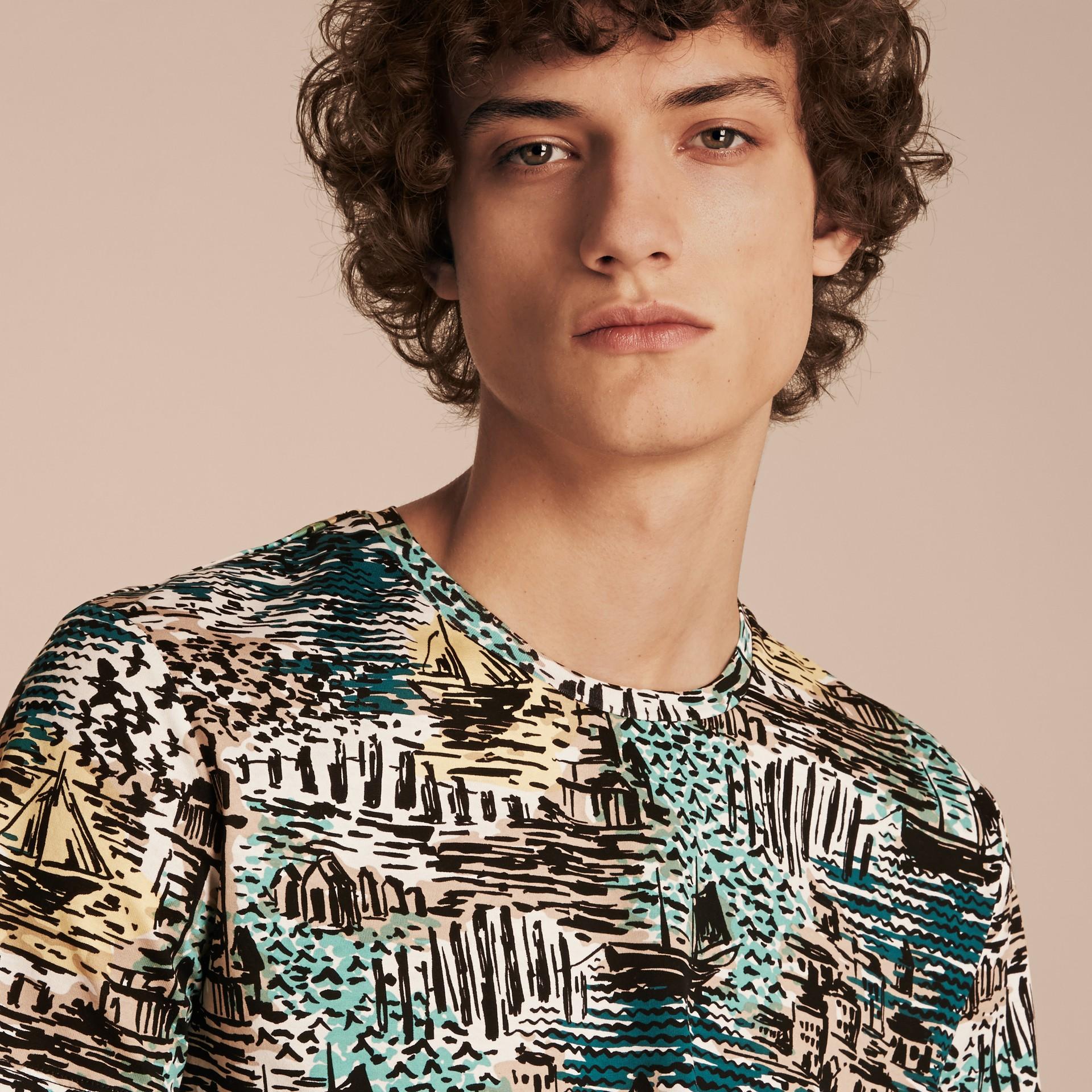 British Seaside Print Cotton T-shirt Aqua Green - gallery image 5