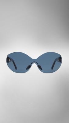 Frameless Circle Glasses : Black blue Round Frameless Sunglasses - Image 2