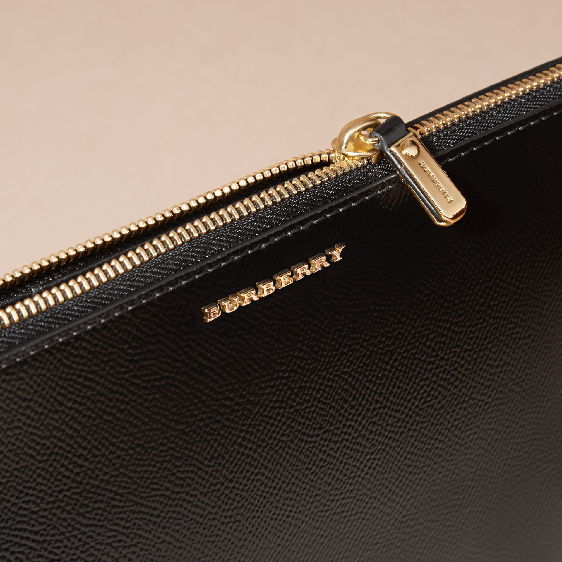 Patent London Leather Clutch Bag in Black - gallery image 2