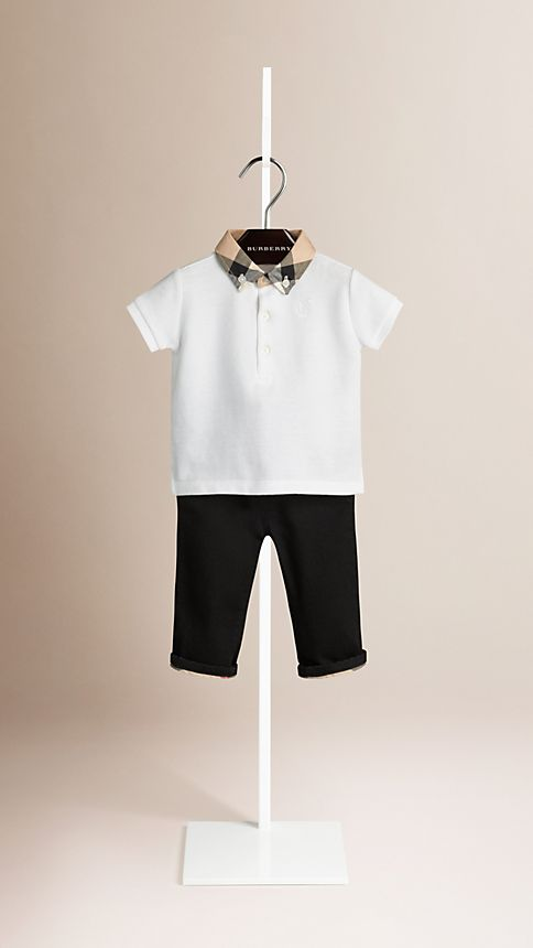 White Check Collar Polo Shirt - Image 1