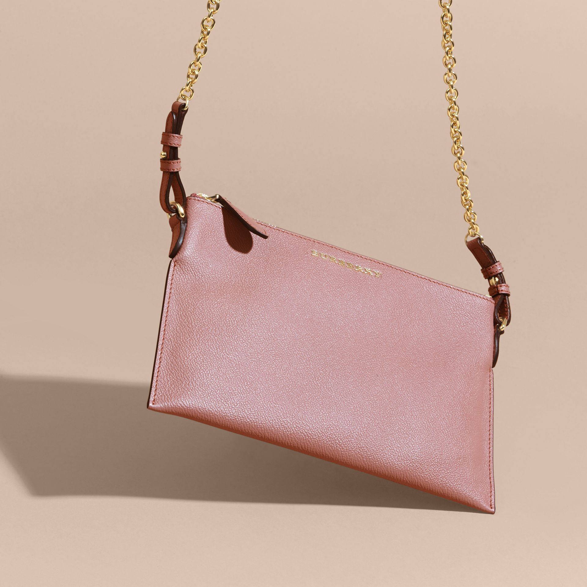Leather Clutch Bag with Check Lining in Dusty Pink - gallery image 8
