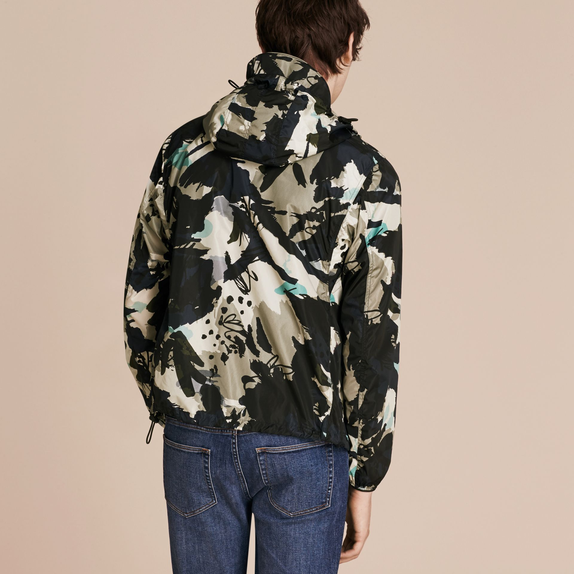 Bright navy Hooded Abstract Floral Print Showerproof Jacket - gallery image 3