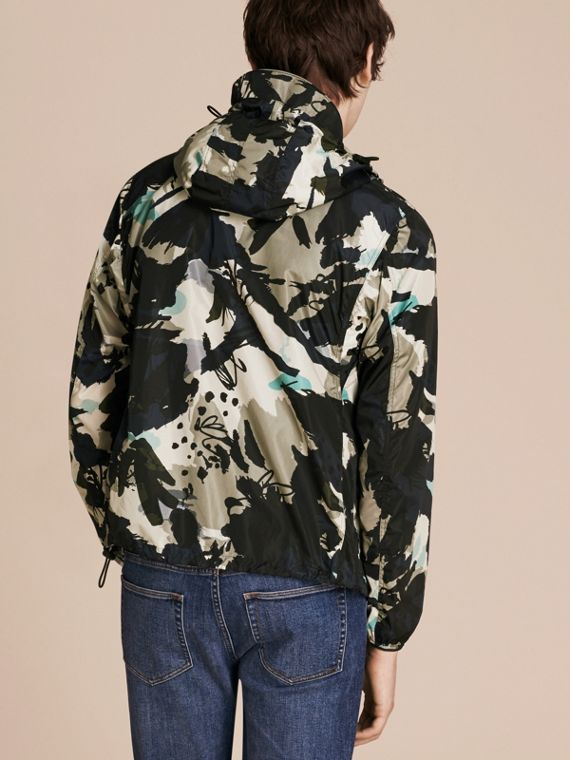 Bright navy Hooded Abstract Floral Print Showerproof Jacket - cell image 2