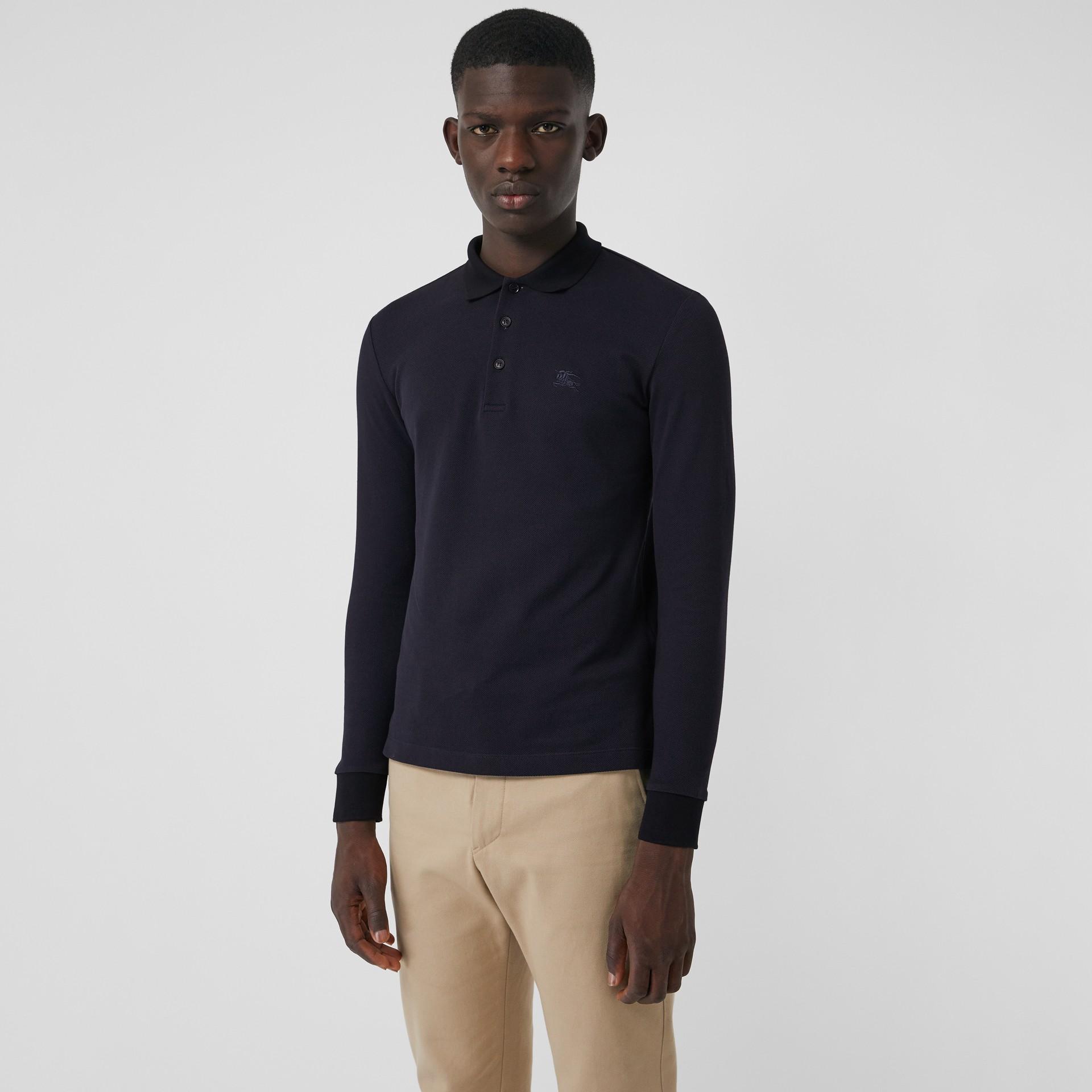Camisa polo de algodão piquê com mangas longas (Azul Marinho) - Homens | Burberry - galeria de imagens 4