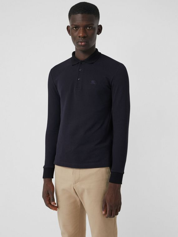 Long-sleeve Cotton Piqué Polo Shirt in Navy