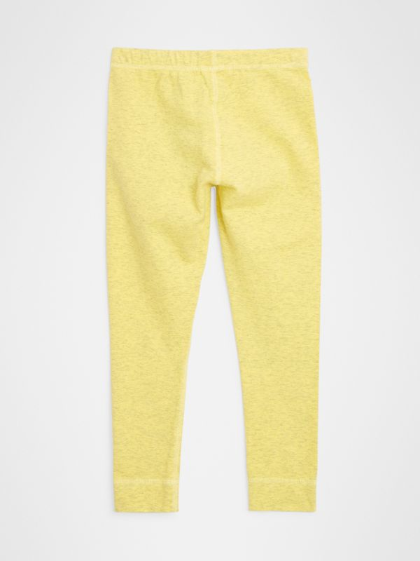 Logo Print Stretch Cotton Leggings in Citrus Yellow | Burberry - cell image 3