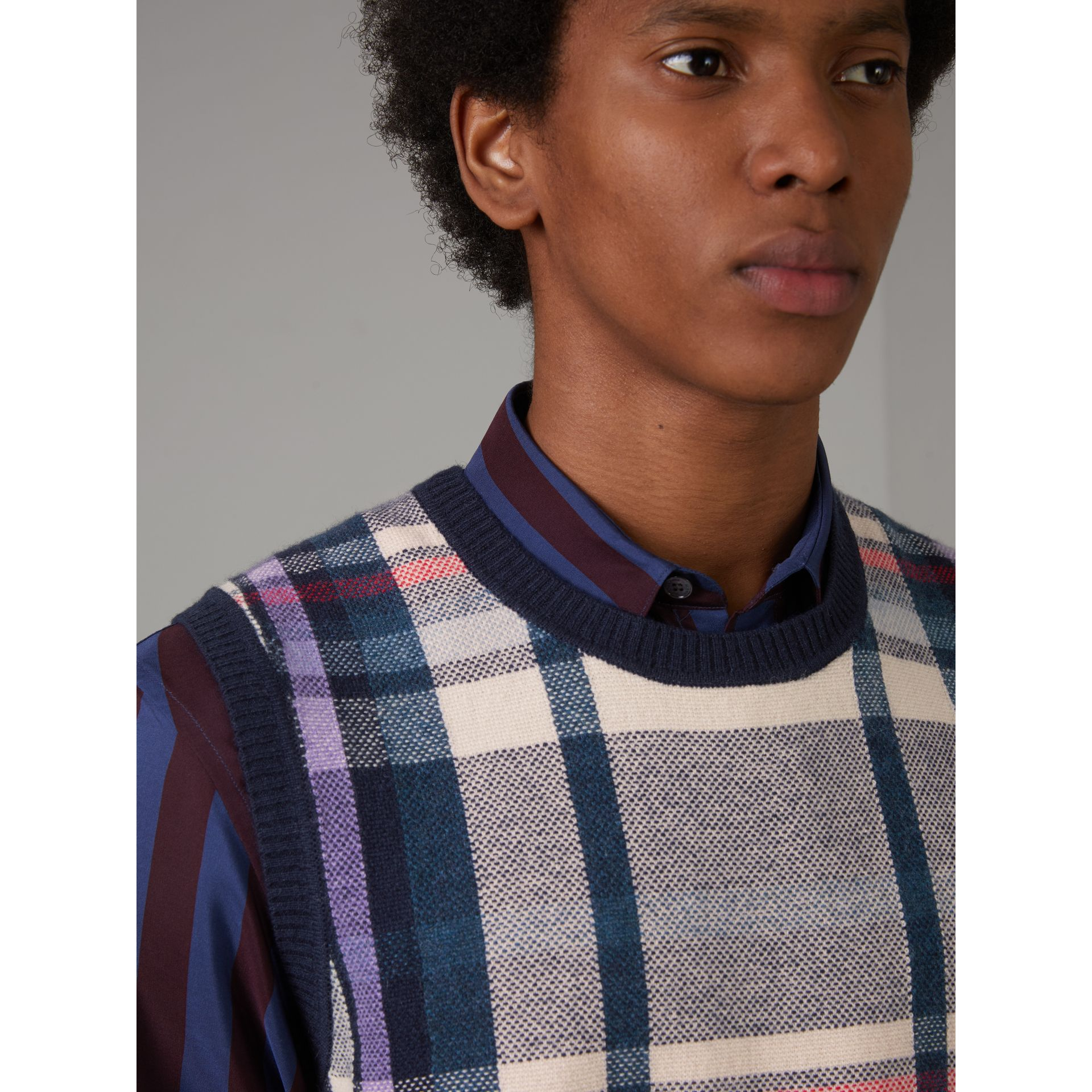 Check Cashmere Tank Top in Bright Navy - Men | Burberry United Kingdom - gallery image 1