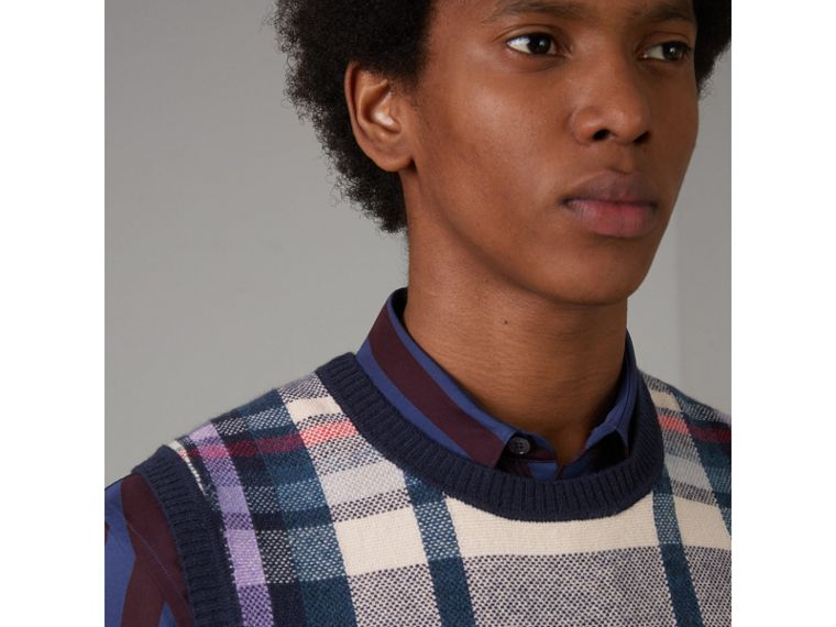 Check Cashmere Tank Top in Bright Navy - Men | Burberry United States - cell image 1