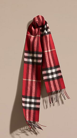 The Slim Reversible Cashmere Scarf in Check