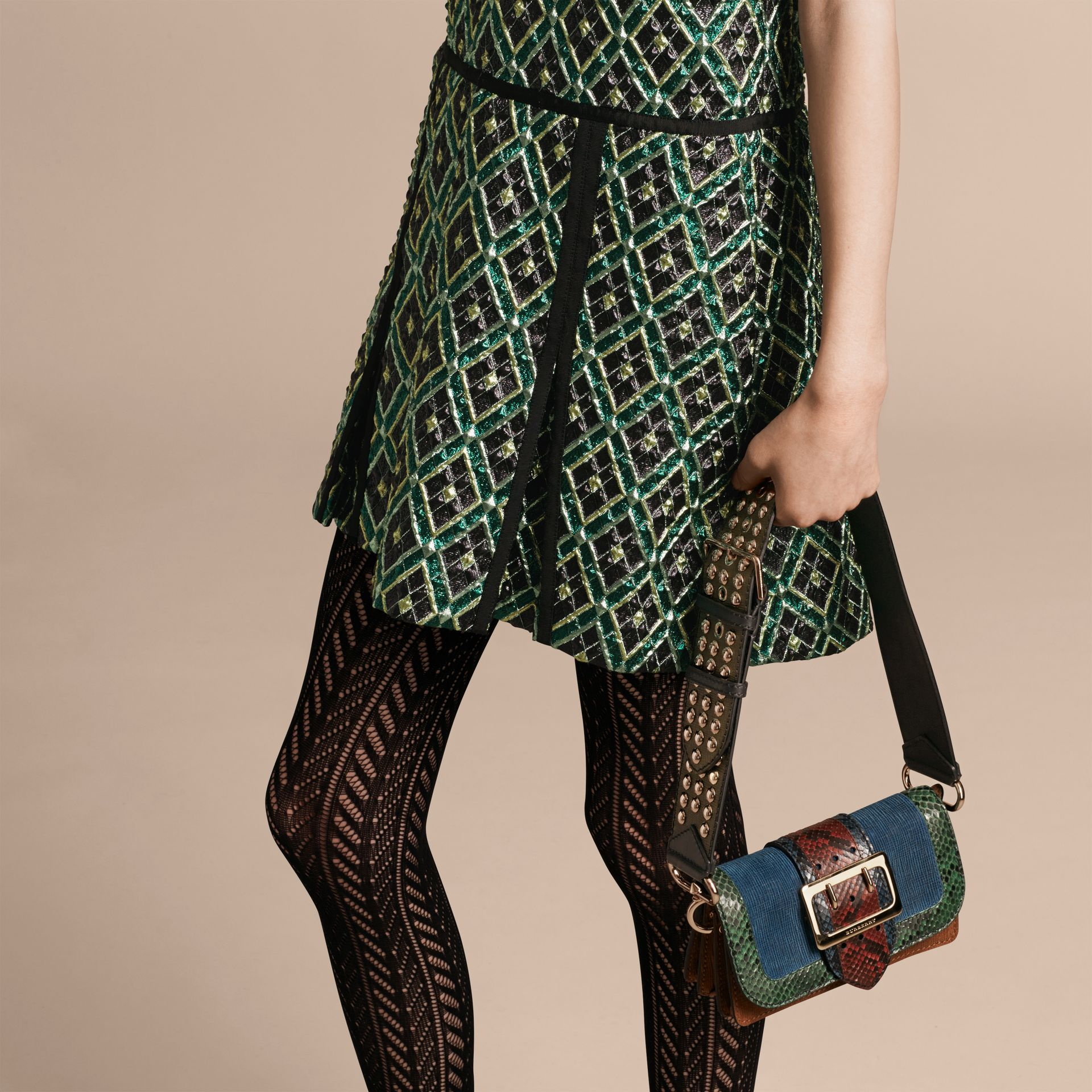 Deep green Patchwork Check Jacquard Dress - gallery image 5