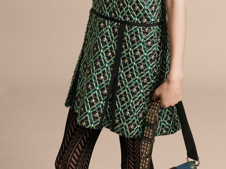 Deep green Patchwork Check Jacquard Dress - cell image 4