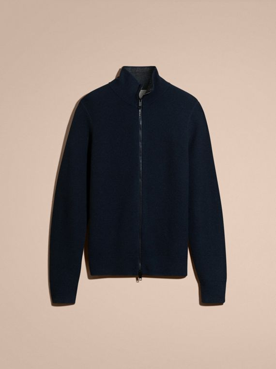Navy Zip Front Wool Cashmere Cardigan Navy - cell image 3