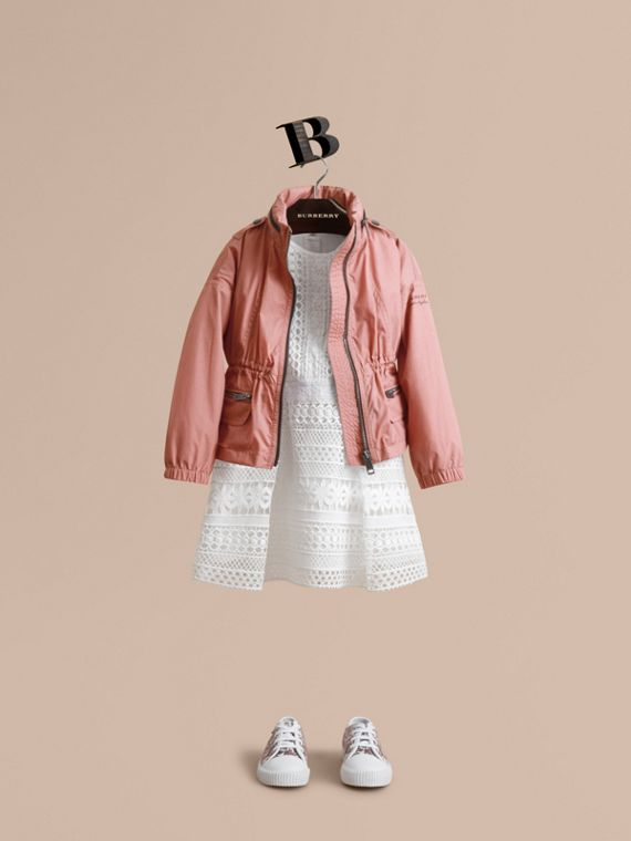 Packaway Hood Showerproof Jacket with Check Detail in Rose Pink - Girl | Burberry Australia
