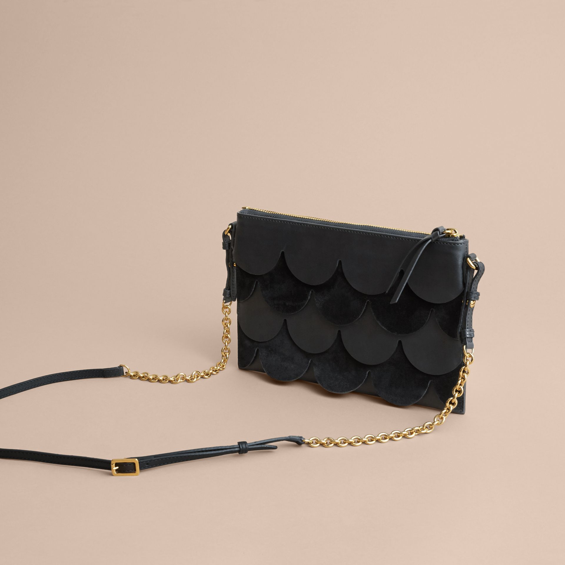 Two-tone Scalloped Leather and Suede Clutch Bag in Black - Women | Burberry - gallery image 5