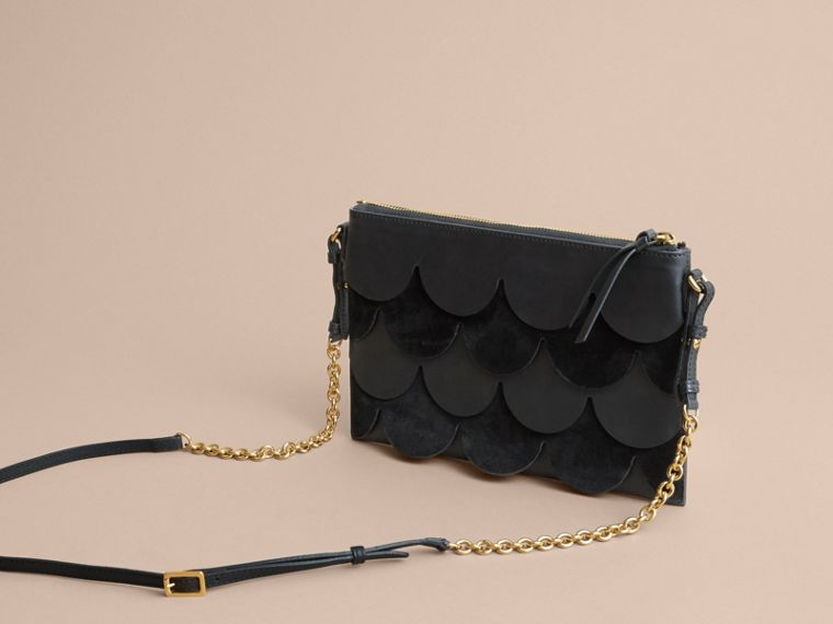 Two-tone Scalloped Leather and Suede Clutch Bag in Black - Women | Burberry - cell image 4