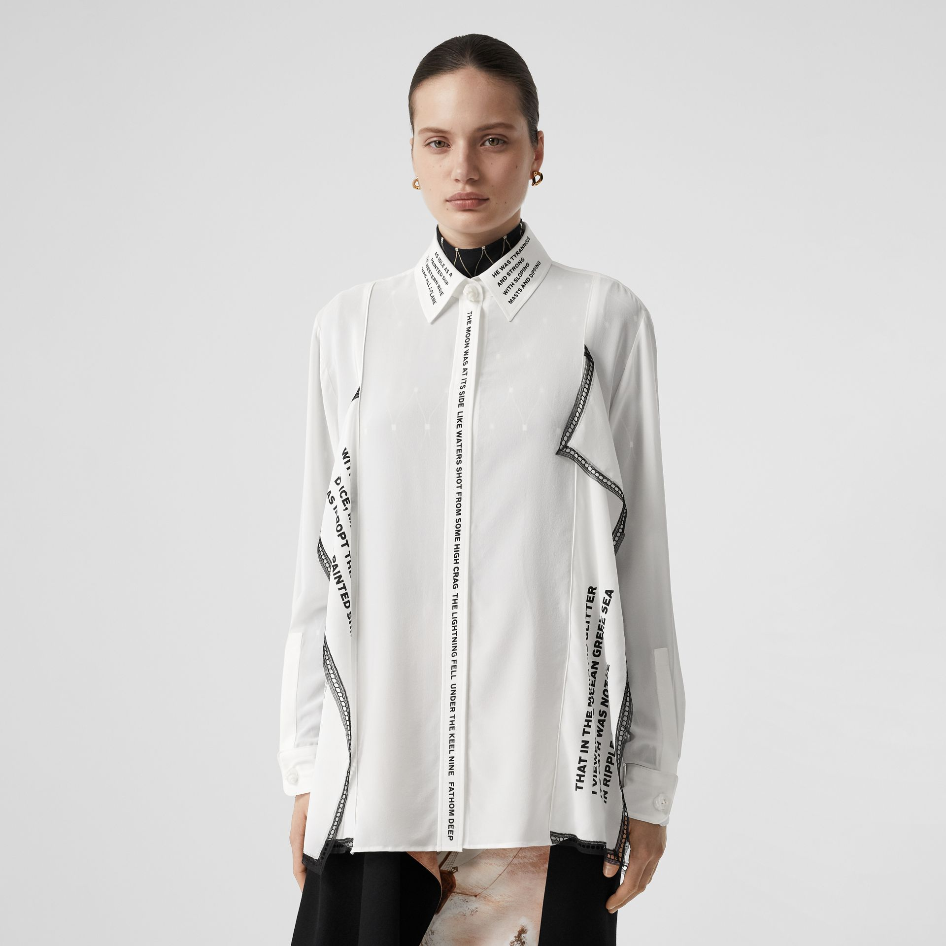 Mariner Print Lace Trim Silk Oversized Shirt in Natural White - Women | Burberry - gallery image 5