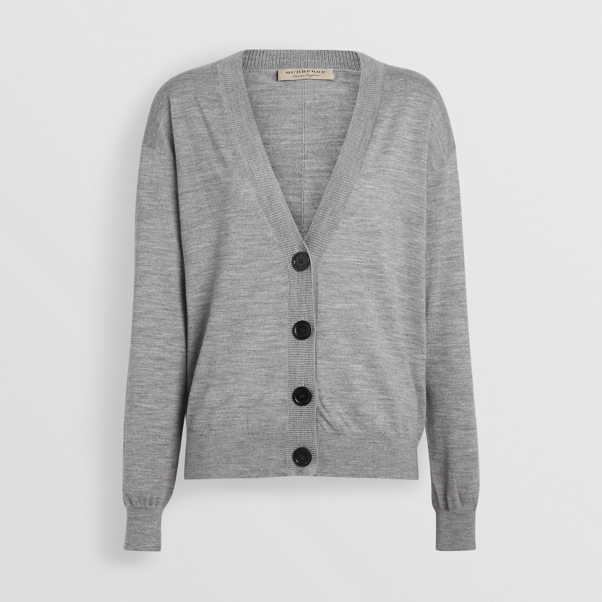 Vintage Check Detail Merino Wool Cardigan in Grey Melange - Women | Burberry Canada - gallery image 3