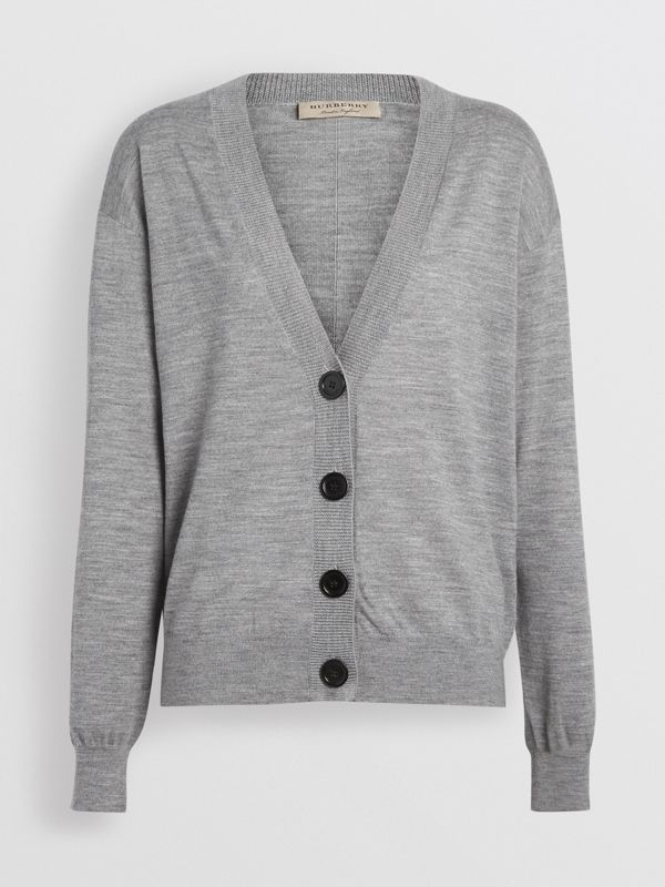 Vintage Check Detail Merino Wool Cardigan in Grey Melange - Women | Burberry - cell image 3