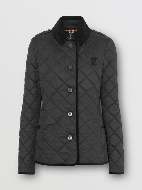 Monogram Motif Diamond Quilted Jacket in Black - Women | Burberry Singapore - cell image 3