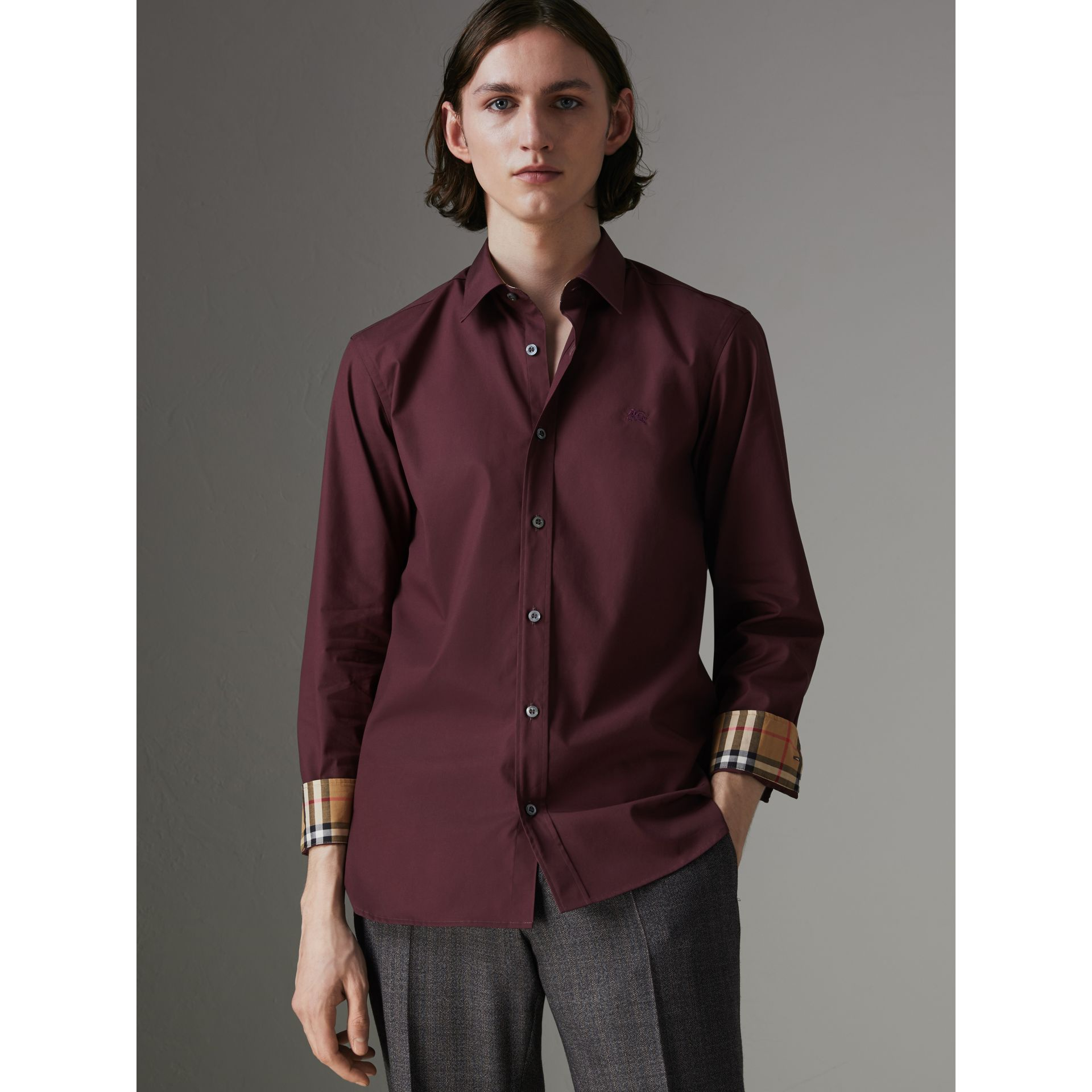 Check Cuff Stretch Cotton Poplin Shirt in Oxblood - Men | Burberry - gallery image 0