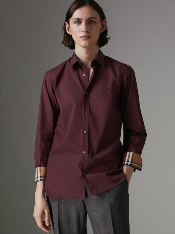 Check Cuff Stretch Cotton Poplin Shirt in Oxblood