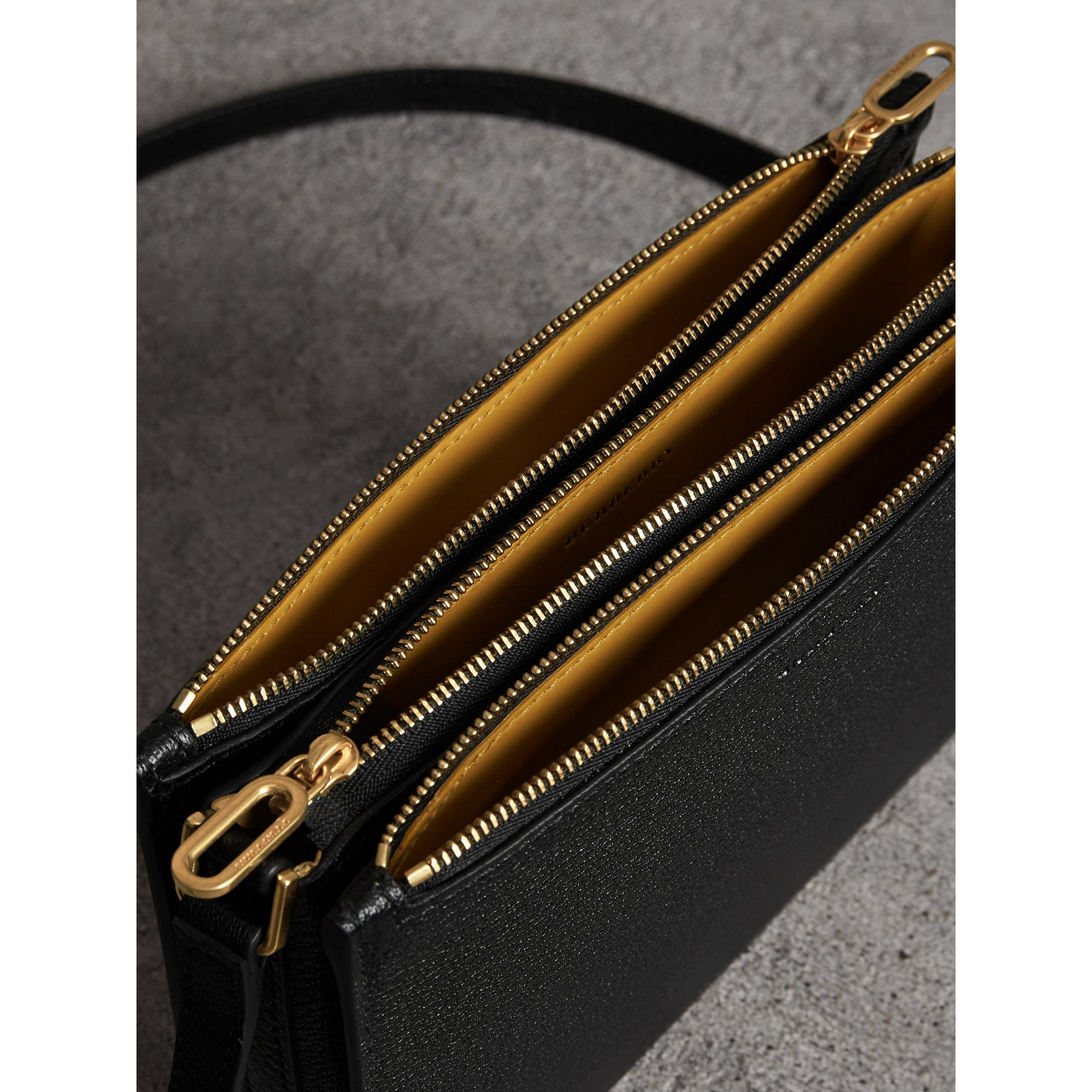 Triple Zip Grainy Leather Crossbody Bag in Black/gold - Women | Burberry - gallery image 5