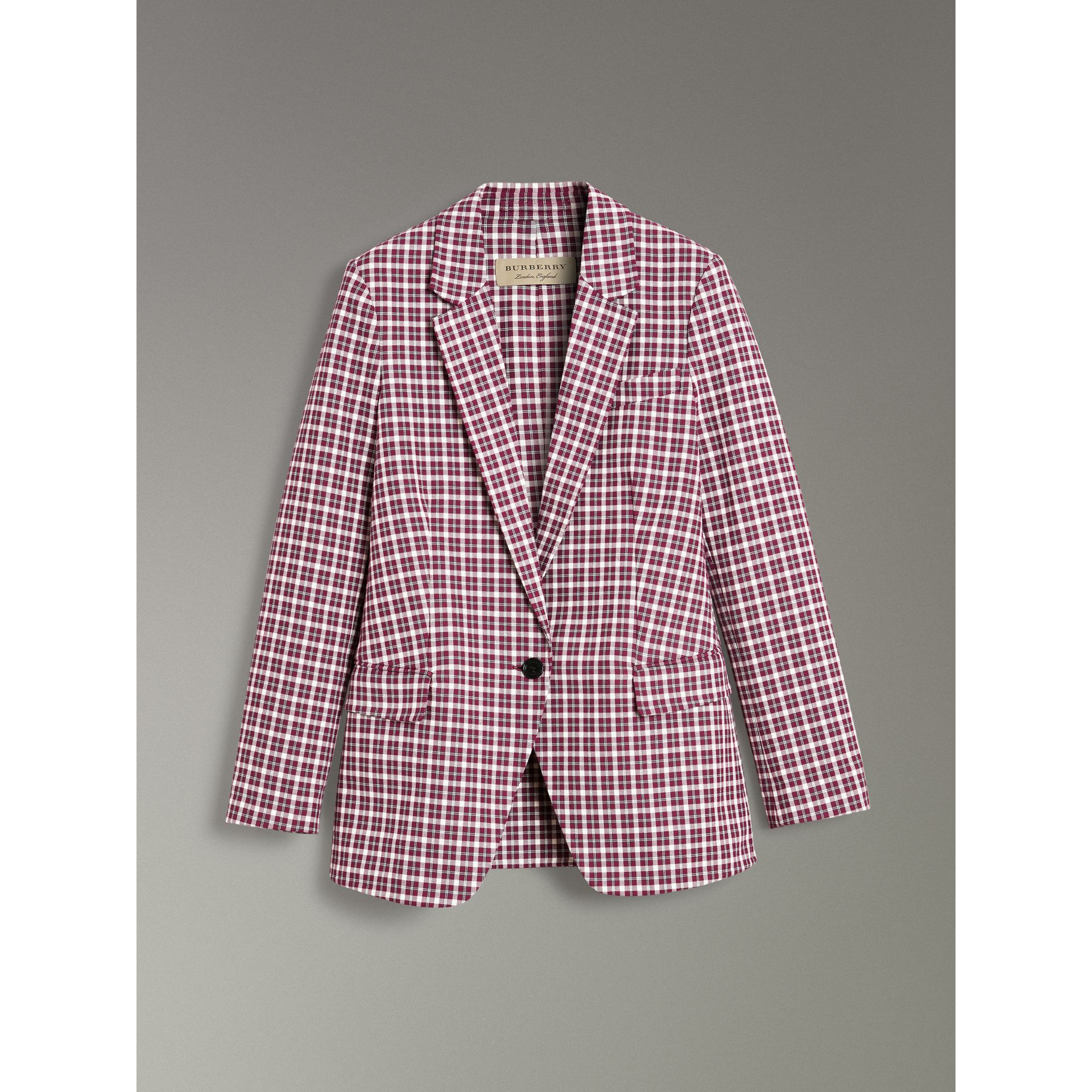 Check Cotton Tailored Jacket in Burgundy - Women | Burberry Hong Kong - gallery image 3
