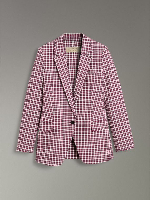 Check Cotton Tailored Jacket in Burgundy - Women | Burberry United Kingdom - cell image 3