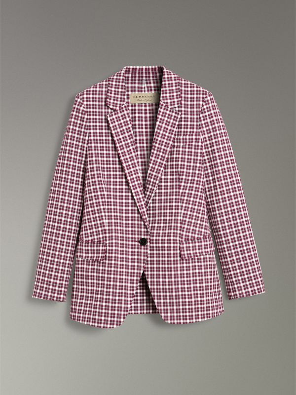 Check Cotton Tailored Jacket in Burgundy - Women | Burberry - cell image 3