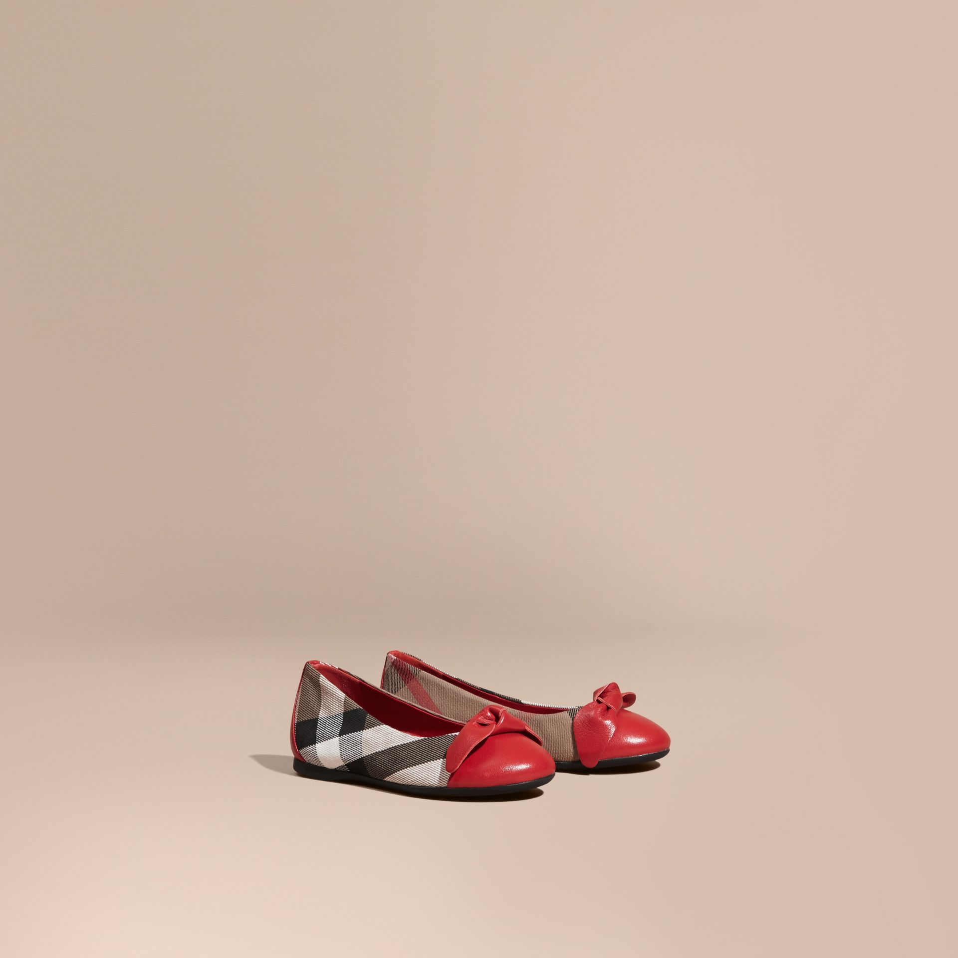 Leather and House Check Ballerinas in Parade Red - Girl | Burberry Canada - gallery image 1