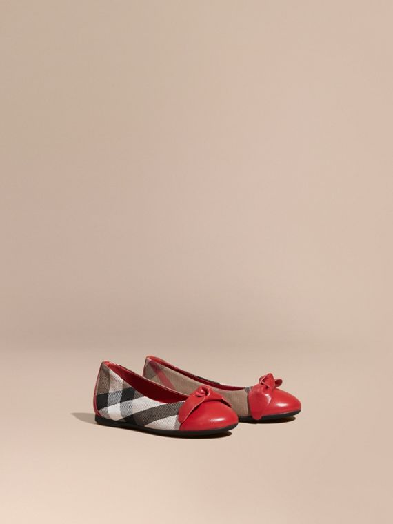 Leather and House Check Ballerinas in Parade Red - Girl | Burberry