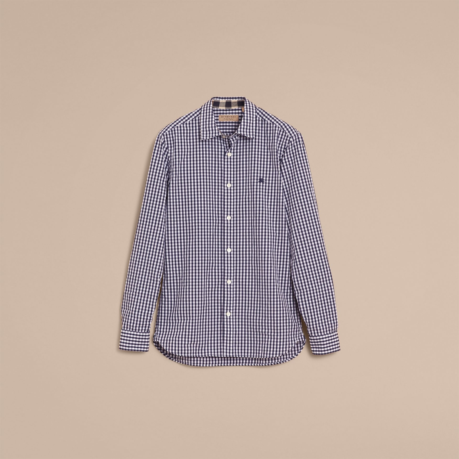 Gingham Cotton Poplin Shirt with Check Detail Ink Blue - gallery image 4