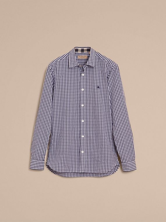 Gingham Cotton Poplin Shirt with Check Detail Ink Blue - cell image 3