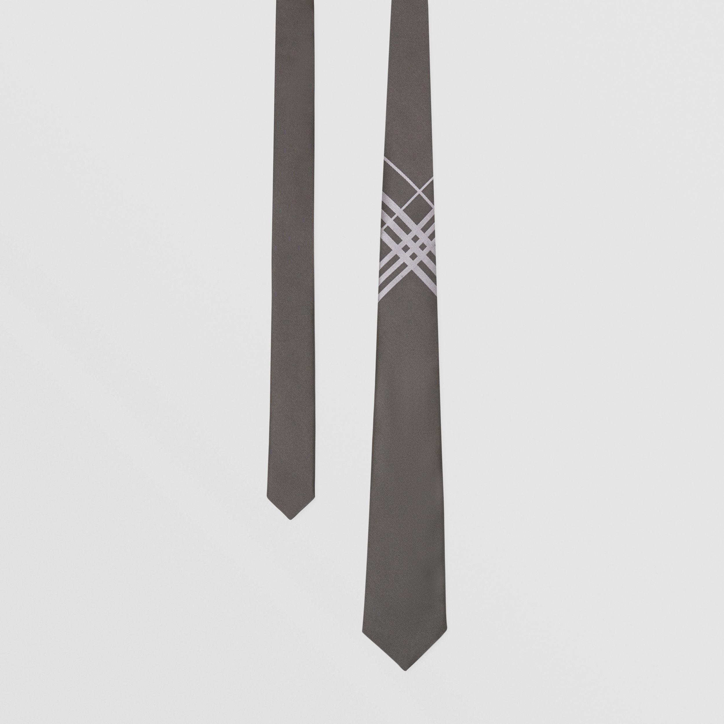 Classic Cut Check Silk Jacquard Tie in Dark Grey - Men | Burberry Australia - 1