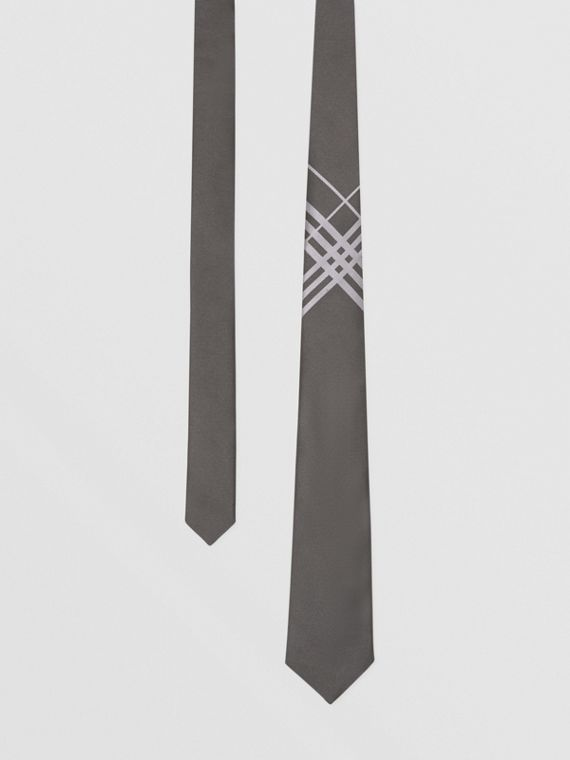Classic Cut Check Silk Jacquard Tie in Dark Grey