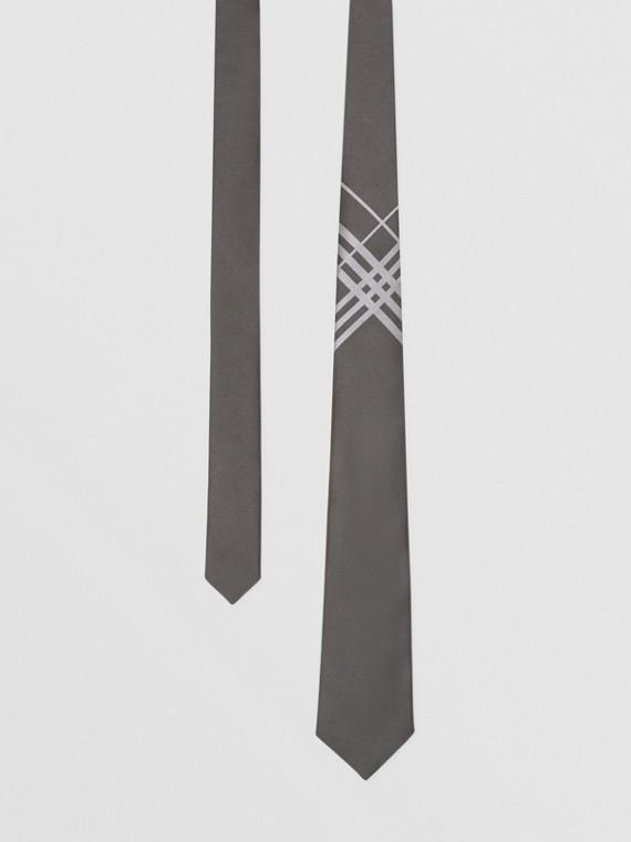 經典剪裁格紋絲質提花領帶 (暗灰色)