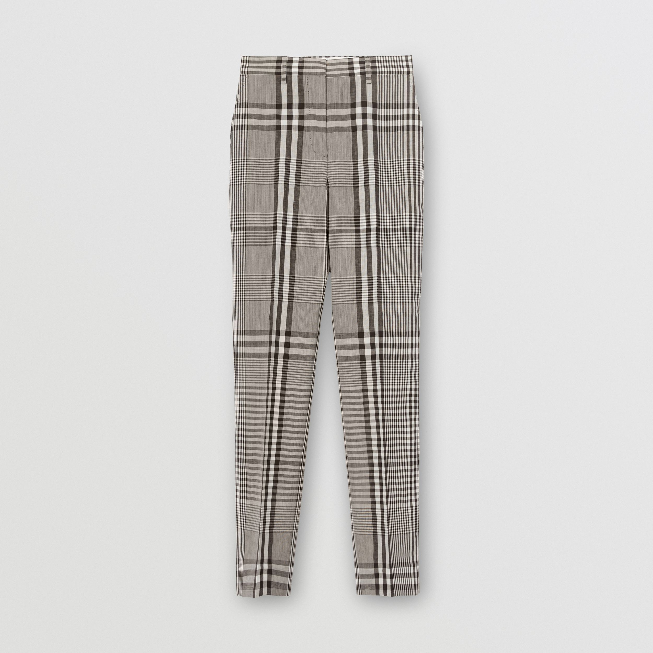 Check Technical Wool Cropped Trousers in Dark Brown - Women | Burberry Australia - 4