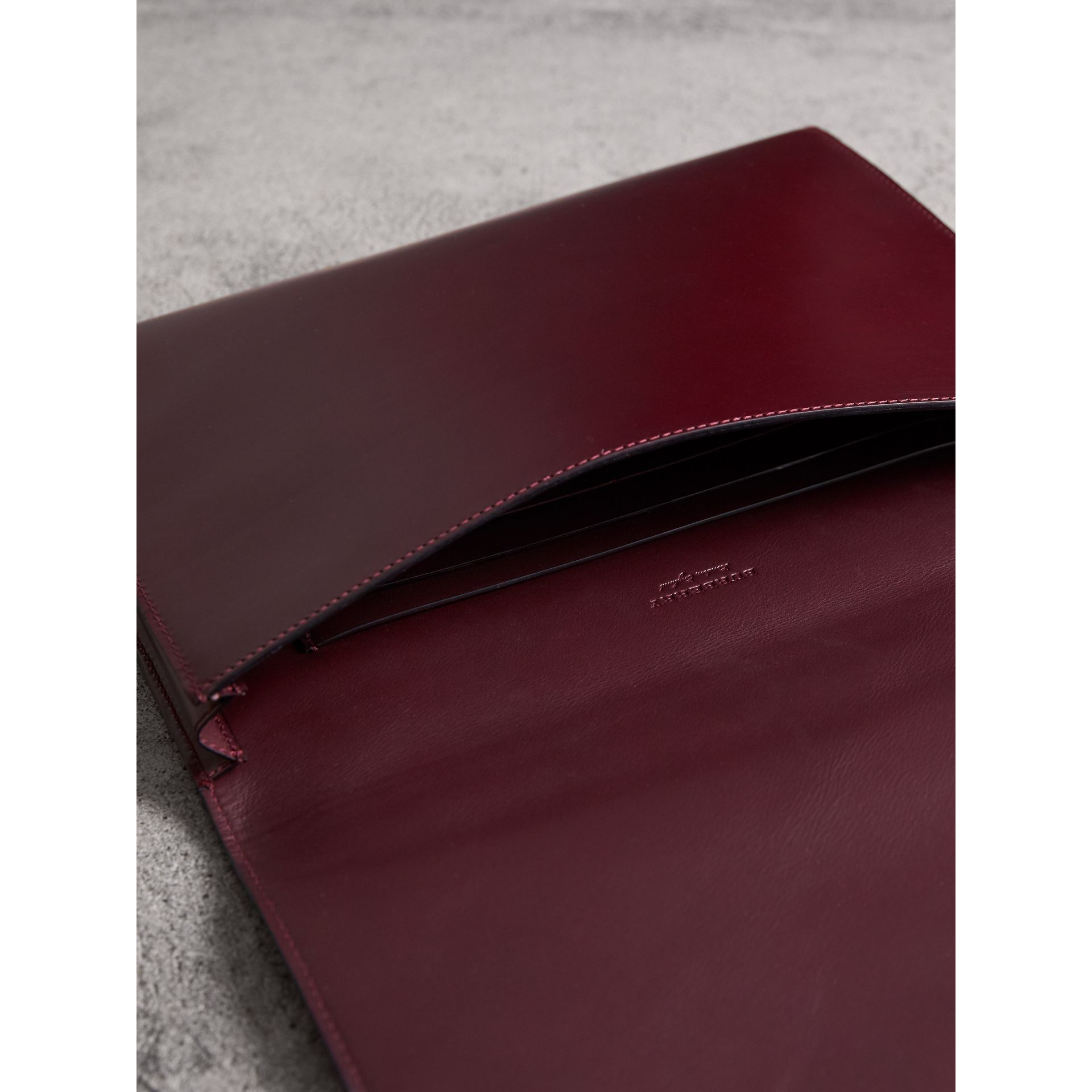 Equestrian Shield Leather A4 Document Case in Deep Claret | Burberry - gallery image 3