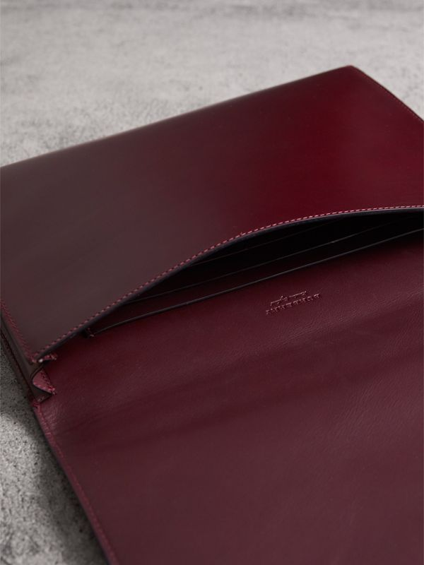 Equestrian Shield Leather A4 Document Case in Deep Claret | Burberry United Kingdom - cell image 3